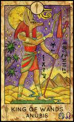 Anubis. Minor Arcana Tarot Card. King of Wands