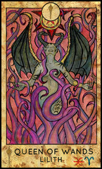 Lilith vampire. Minor Arcana Tarot Card. Queen of Wands