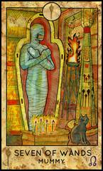 Mummy. Minor Arcana Tarot Card. Seven of Wands