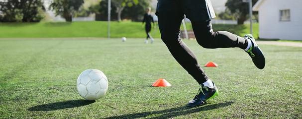 Leg skill training on football field