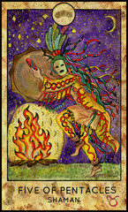 Shaman or warlock. Minor Arcana Tarot Card. Five of Pentacles