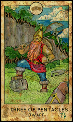 Gnome or dwarf. Minor Arcana Tarot Card. Three of Pentacles