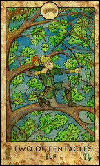Elf. Minor Arcana Tarot Card. Two of Pentacles