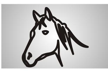 horse in canvas vector