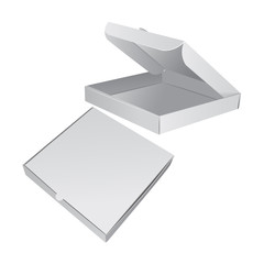 Set of packing box for pizza. Vector realistic 3d illustration