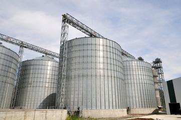 Agricultural Silos. Metal grain facility with silos.