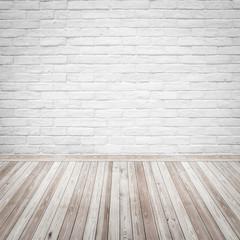 Vintage interior with white bricks wall