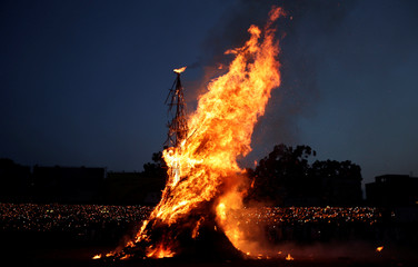 A bonfire burns during the Meskel Festival to commemorate the discovery of the true cross on which Jesus Christ was crucified on, at the Meskel Square in Addis Ababa
