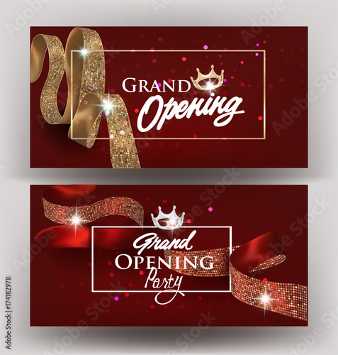 Beautiful grand opening invitation banners with silk ribbons with beautiful grand opening invitation banners with silk ribbons with pattern and frames vector illustration stopboris Image collections