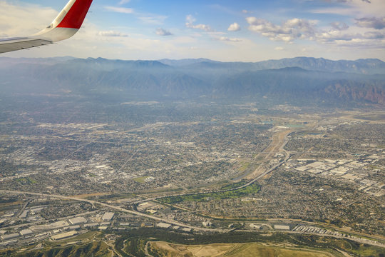 Aerial view of Arcadia, El Monte, Basset, view from window seat in an airplane