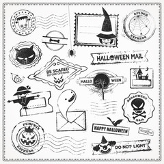Halloween Vector Grunge Stamps