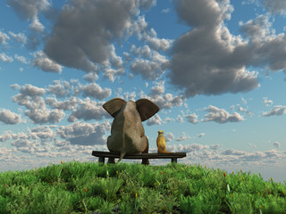 dog and elephant sitting on the green grass field