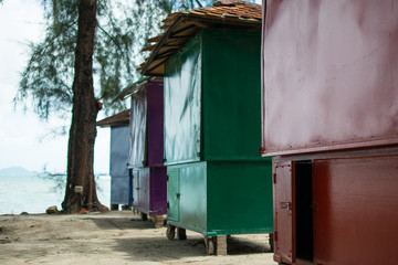 colorful huts at the beach