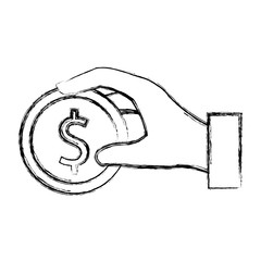 hand human with coin money isolated icon vector illustration design