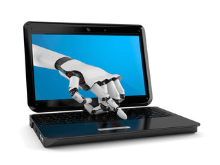 Cyborg hand with laptop