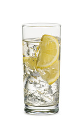 Fototapete - glass full of fresh water with lemon and ice cubes, on white background
