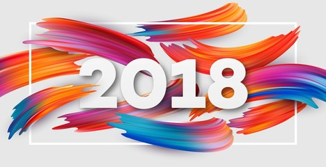 2018 New Year on the background of a colorful brushstroke oil or acrylic paint design element for presentations, flyers, leaflets, postcards and posters. Vector illustration