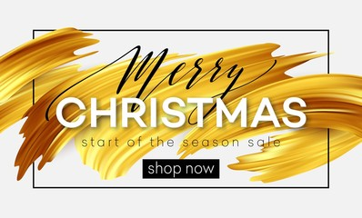 Merry Christmas lettering on a background of a gold brushstroke oil or acrylic paint. Sale design element for presentations, flyers, leaflets, postcards and posters. Vector illustration