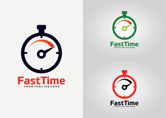 Fast Time Logo Template Design Vector, Emblem, Design Concept, Creative Symbol, Icon