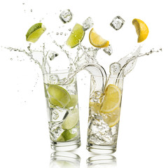 Fototapete - glass full of water with lemon and citron slices and ice cubes falling and splashing water, on white background