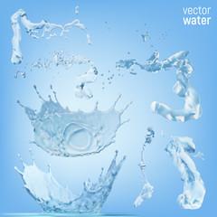 Water splashes on transparent blue background.