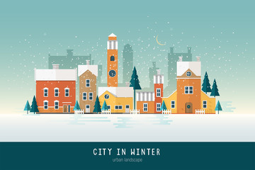 Beautiful urban landscape or cityscape with colorful antique buildings, towers and green spruce trees covered with snow. City street on winter night. Modern colored vector illustration in flat style.
