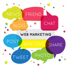 Web Marketing Banner. Web Marketing speech bubbles design.