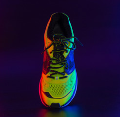 sports footwear on a black background