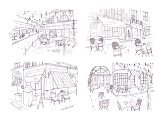 Fototapete - Collection of freehand sketches of outdoor cafe or restaurant with tables and chairs standing on city street beside buildings and trees. Monochrome vector illustration hand drawn with contour lines.
