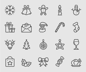 Merry christmas line icon