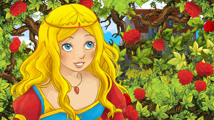 Cartoon scene of beautiful princess or sorceress in the garden - castle in the background - illustration for children