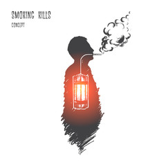 Smoking kills concept. Hand drawn nicotine is killer. Person smoking isolated vector illustration.