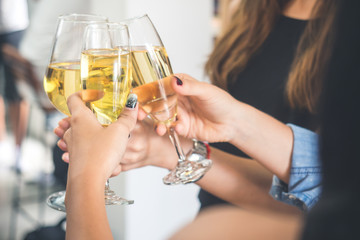 Group of women celebrating in a party, clinking glasses of wine,beer,liquor, spirit, booze with happy and relaxing feeling, party and celebration concept vintage tone
