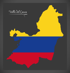 Valle del Cauca map of Colombia with Colombian national flag illustration
