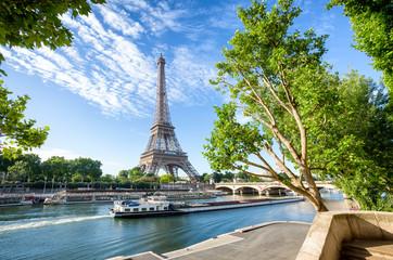 Poster Eiffeltoren Seine in Paris with Eiffel Tower in sunrise time