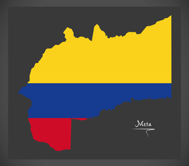 Meta map of Colombia with Colombian national flag illustration
