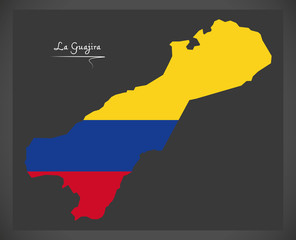 La Guajira map of Colombia with Colombian national flag illustration