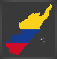 Huila map of Colombia with Colombian national flag illustration
