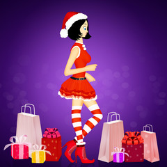 girl with Christmas clothes