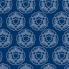 Seamless pattern in Japanese style. Japanese ornament of white elements pine on a blue background.