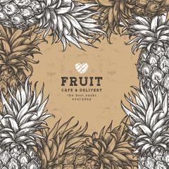 Vintage pineapple design template. Botanical fruit background. Engraved pineapple. Vector illustration