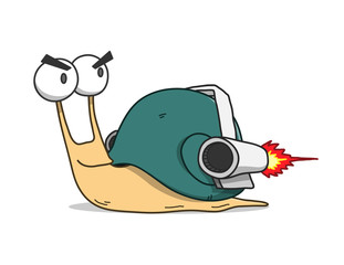 Snail Wearing Turbo Rocket Speed Booster, a hand drawn vector doodle illustration of a fast moving snail wearing rocket.