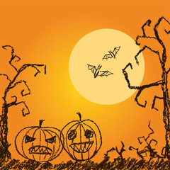 Halloween orange background with spooky naked trees, moon, bat and pumpkin. Crayon, chalk pastel or pencil hand drawn simply grunge horror illustration.