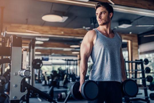 Sports man in gym