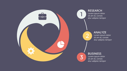 Vector circle heart love valentine infographic, cycle diagram, graph, presentation chart. Business concept with 3 options, parts, steps, processes. 16x9 dark slide template.
