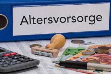 Aktenordner (blau) mit Beschriftung Altersvorsorge