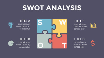 Vector SWOT analysis square puzzle infographic, cycle diagram, graph, presentation chart. Business concept with 4 options, parts, steps, processes. 16x9 dark slide template.