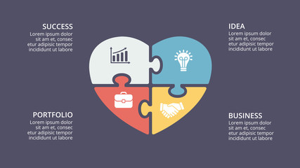 Vector puzzle heart love valentine infographic, cycle diagram, graph, presentation chart. Business concept with 4 options, parts, steps, processes. 16x9 dark slide template.