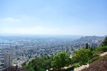 Panorama of Haifa and view of the Bahai Gardens and the Bahai Temple. Israel