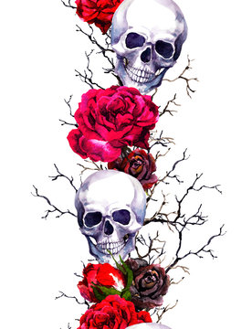 Human skulls with rose flowers, branches. Seamless border frame. Watercolor